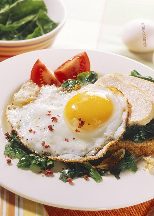 Hähnchen mit Spinat und Ei auf Toast